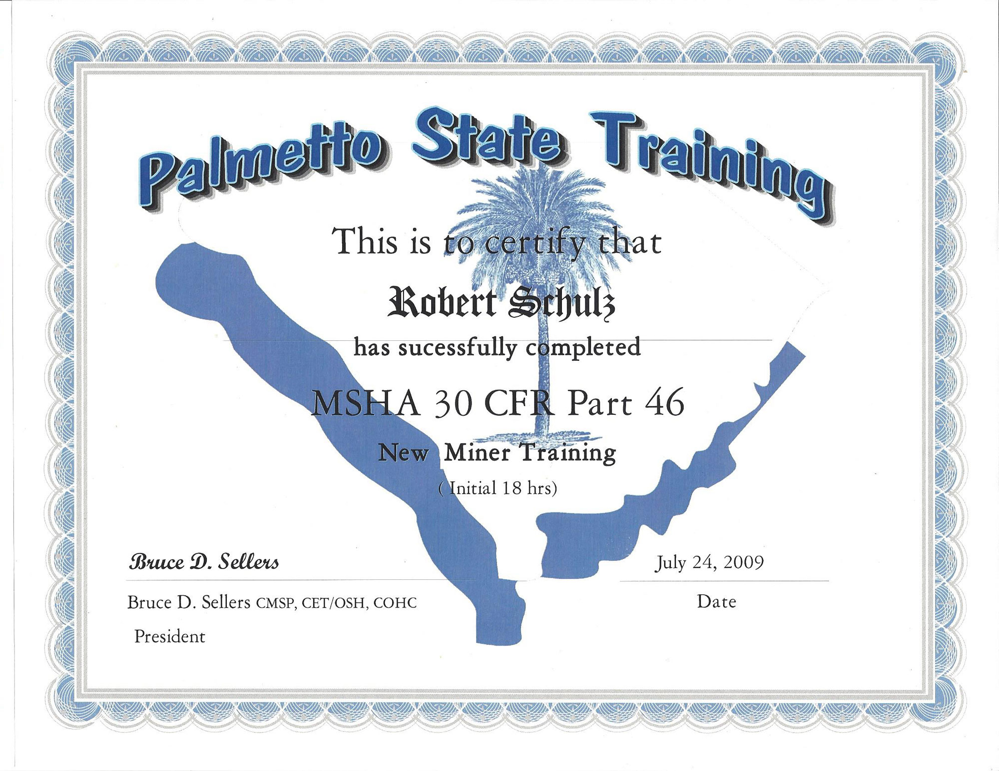 MSHA-Certificate