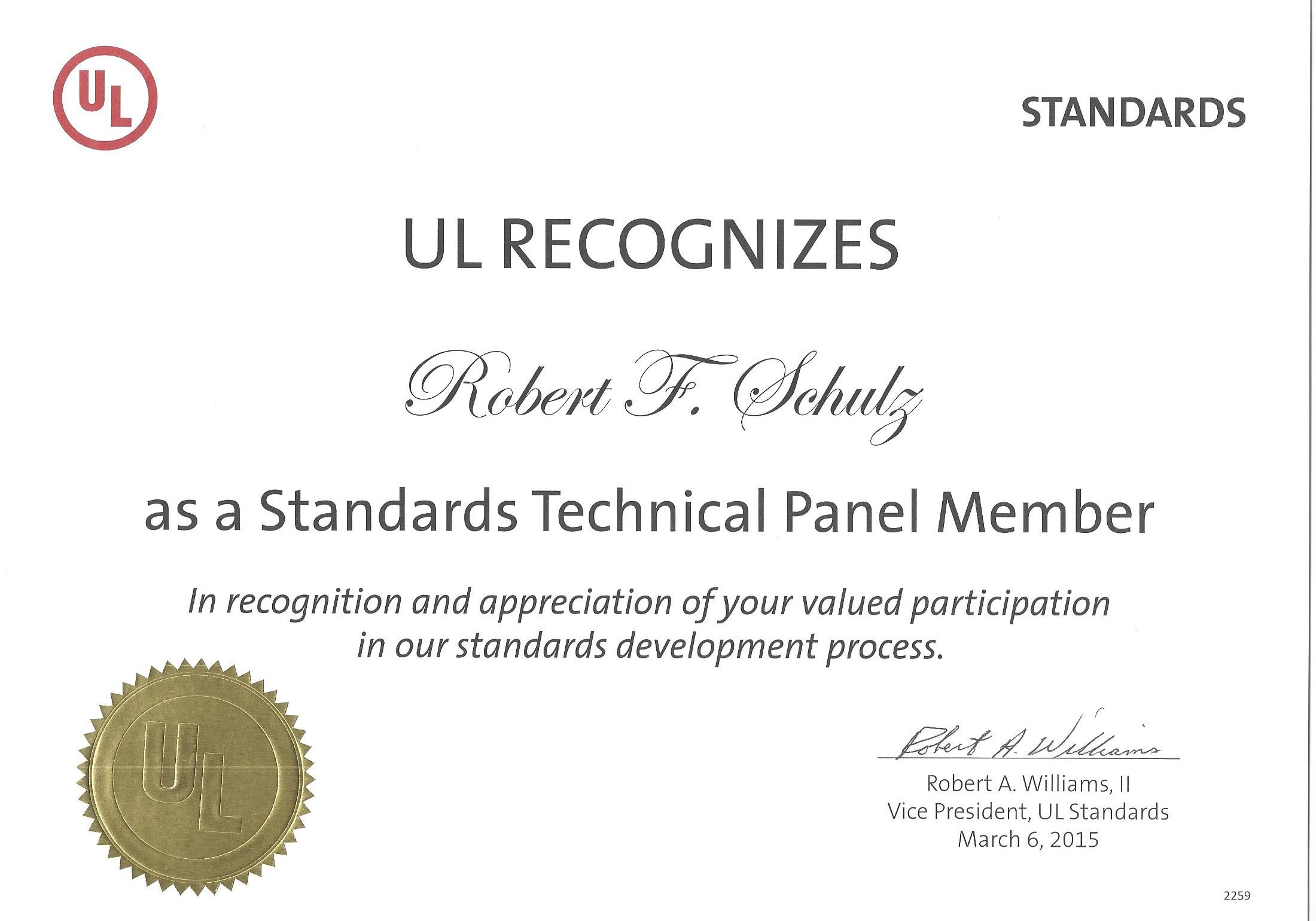 UL Standards Technical Panel_Cert_2015